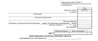 Акт инвентаризации наличных денежных средств (унифицированная форма ИНВ-15)