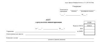 Акт о результатах инвентаризации (форма 0504835)