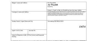 Авианакладная AWB (Air Waybill)