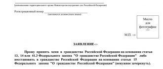 Заявления на гражданство РФ