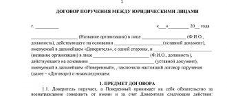 Договор поручения между юридическими лицами