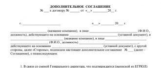 Дополнительное соглашение о смене директора