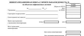 Инвентаризационная опись (форма ОКУД 0504087)