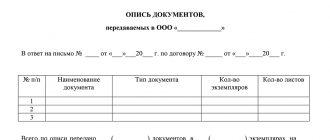 Опись документов для передачи другой организации