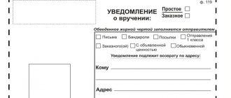 Уведомление о вручении заказного письма