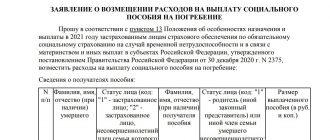 заявление на выплату пособия на погребение в ФСС