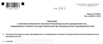Заявление по форме Р24001 о внесении изменений в сведения об ИП