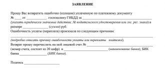 Заявление в ГИБДД на возврат госпошлины